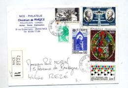 Lettre Recommandée Nice Sur Vitrail Daurat Television - Manual Postmarks