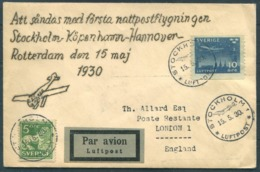 1930 Sweden Stockholm - Copenhagen - Hannover - Rotterdam First Night Flight Cover. - Airmail