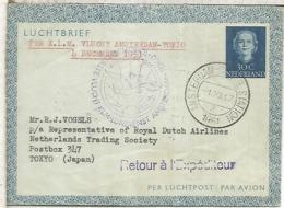 HOLANDA AEROGRAMA 1951 PRIMER VUELO KLM AMSTERDAM TOKYO - Correo Aéreo