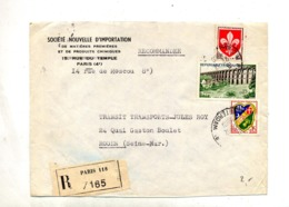 Lettre Recommandée Paris 118 Sur Gard - Marcophilie (Lettres)