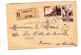 Lettre Recommandée Rouen Sur Pelote Brouage - Marcophilie (Lettres)