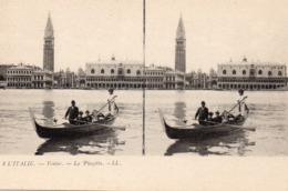 Italie Firenze Venise Vénézia Animée La Piazetta Gondole Gondolier Carte Stéréoscopique - Venezia (Venice)