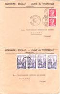 2 Lettres Usine De Thionville 1955 - Covers & Documents