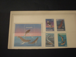GRENADA - 1982 CETACEI 4 VALORI +  BF - NUOVI(++) - Grenada (1974-...)