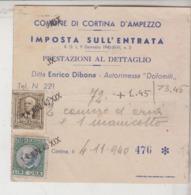 Cortina D'ampezzo Belluno Ricevuta Ditta Enrico Dibona Autorimessa Dolomiti Con Marche Da Bollo 1940 - Historical Documents