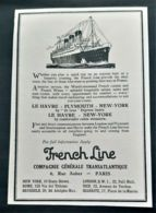 FRENCH LINE 1920 COMPAGNIE GENERALE TRANSATLANTIQUE PAQUEBOT LUXE LE HAVRE PLIMOUTH NEW YORK PUBLICITE STEAMSHIP AD - Reclame