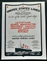 UNITED STATES LINES 1920 PAQUEBOT LEVIATHAN PRESIDENT HARDING ROOSEVELT WASHINGTON LUXE PUBLICITE STEAMSHIP AD - Reclame