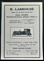 AUTOMOBILE LAROUSSE 1920 AGENT DELAGE HOTCHKISS DELAUNAY BELLEVILLE RENAULT VOISIN PUB LUXE AD FRENCH CARS VOITURES - Reclame