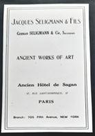JACQUES SELIGMANN & FILS 1920 ANTIQUAIRE HOTEL SAGAN PARIS GALERIE ANTIQUITE PUBLICITE FINE WORKS OF ART DEALERS AD - Reclame