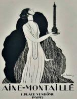 AINE MONTAILLE GEORGES LEPAPE 1920 HAUTE COUTURE MODE ART DECO PLACE VENDOME LUXE PUBLICITE ANTIQUE AD FASHION - Reclame