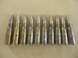 10 Cartouches 8 Mm Lebel Datées 1938 (neutralisées) Ogives Maillechort - Equipement