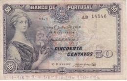BILLETE DE PORTUGAL DE 50 CENTAVOS DEL AÑO 1918  (BANKNOTE) - Portugal
