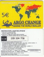 GREECE - World Map, Europe/Russia, Argo Change By Petroulakis Prepaid Card 5 Euro(thick Plastic), Used - Grèce
