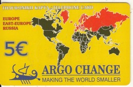 GREECE - World Map, Europe/Russia, Argo Change By Petroulakis Prepaid Card 5 Euro(thin Plastic), Used - Grèce