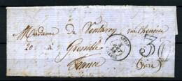ALGERIE - 3 Août 1858 - Lettre De SETIF Pour GRENOBLE - Taxe Tampon 30 - Très Beau - Algerien (1924-1962)