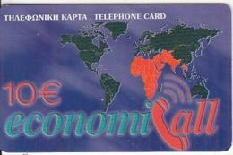 GREECE - EconomiCall, Africa/Arabia/India, Petroulakis Prepaid Card 10 Euro(thick Plastic), Used - Grèce