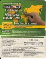 GREECE - Teledome Prepaid Card 2000 GRD/5.87 Euro(dark Green, 0800 111444), Exp.date 31/12/03, Used - Grèce