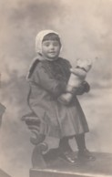 Girl With Teddy Bear Stuffed Toy, C1900s Vintage Real Photo Postcard - Portraits