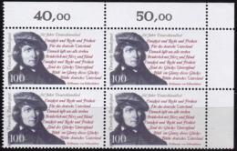 """BRD, 1991 Nr. 1555 **,  Viererblock Mit Eckrand Oben Rechts, """"150 Jahre Deutschlandlied"""" - Nuovi"""