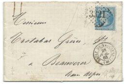 N° 29 BLEU NAPOLEON SUR LETTRE / SAULT DE VAUCLUSE POUR BEAUVEZER 1868 / GC 3321 INDICE 6 - Postmark Collection (Covers)
