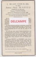 DOODSPRENTJE MAHIEU JEROME ECHTGENOOT VANTOMME WERVIK 1887 - 1955  BEWERKT TEGEN KOPIEREN - Devotion Images
