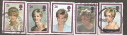Great Britain: Full Set Of 5 Used Stamps, Princess Diana, 1998, Mi#1729-1733(2) - Oblitérés