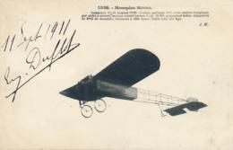 """Aviateur E. DUFLOT  - Signature Autographe Sur CP """" Monoplan Blériot """" 11 Septembre 1911 - Aviateurs"""
