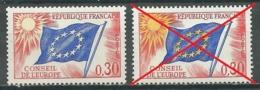 France Timbres De Service YT N°30b Conseil De L'Europe (jaune Omis Sur Les étoiles) Neuf ** - Service