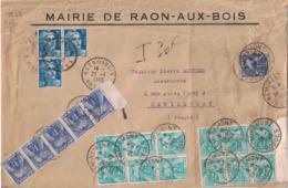 VOSGES - MAIRIE DE RAON AUX BOIS - AFFRANCHIE AVEC GANDON - TAXE 30F AVEC 2 BLOC DE 6 + BANDE DE 5 DU 1F - PAS BANAL. - Marcophilie (Lettres)