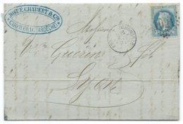 N° 29 BLEU NAPOLEON SUR LETTRE / CHOMERAC POUR LYON 1869 - Postmark Collection (Covers)