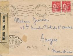 """Débacle - Cachet De CENSURE """" IA 116 """" TOURS Indre Et Loire Sur Lettre Censurée Du 28/5/40 > Angers - Affrt PAIX 283 - Marcofilia (sobres)"""
