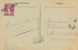 """SEMEUSE 139 Obl Griffe Linéaire AMBULANT """" PARIS A MONS """" Seul Sur CP 5 Mots Etranger > Amsterdam Hollande - Marcophilie (Lettres)"""
