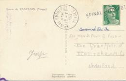"""GANDON 884 6f Griffe """" EPINAL ENTREPOT """" VOSGES + CàD Correspondant Seul Sur CP 5 Mots Etranger > Rotterdam Hollande - Marcophilie (Lettres)"""