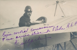 """Pionnier Aviation GARDE - Texte Et Signature AUTOGRAPHE Sur  CP PHOTO - """" Ancien éléve Ecole R.E.P. """" - Luftfahrt"""