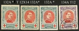 Afwijkende Tanding Op Zegels 132A (3) + 134A - 1914-1915 Red Cross