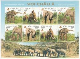 2003 Vietnam Elephants Miniature Sheet Of 8 MNH - Elefanti