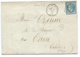 N° 29 BLEU NAPOLEON SUR LETTRE / FONTAINE LE DUN POUR CAEN 1870 / OR LA GAILLARDE - 1849-1876: Klassik