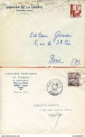"Maroc,Morocco,Marruecos; 1953  ""  2 Belles Enveloppes ; Librairie De La Liberté"" - Marokko (1891-1956)"