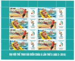 2016 Vietnam Asian Beach Games Volleyball Miniature Sheet Of 8 MNH - Voleibol