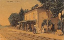 58 - Dirol - La Gare Animée - Voyageurs - Carte Toilée Colorisée - Other Municipalities