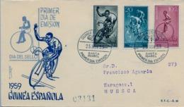 1959 GUINEA ESPAÑOLA , SOBRE DE PRIMER DIA CIRCULADO  , ED. 395 / 397 , CICLISMO , CYCLING , BICICLETAS - Guinée Espagnole