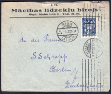 Latvia Riga 1923 / Macibas Lidzeklu Birojs / Rising Sun - Value In Santims And Lats / Sent To Berlin, Germany - Latvia