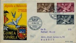 1958 GUINEA ESPAÑOLA , SOBRE DE PRIMER DIA CIRCULADO  , ED. 373 / 375 , AYUDA A VALENCIA - Guinée Espagnole