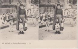 CPA Vichy - Laitière Bourbonnaise - Carte Stéréo (joli Plan : Attelage Avec âne) - Vichy