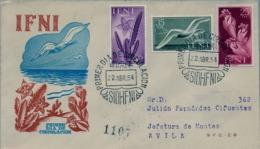 1954 IFNI , SOBRE DE PRIMER DIA CIRCULADO  , ED. 105 / 107 , SERIE BÁSICA - FLORA Y FAUNA , LLEG. AVILA / ESTACIÓN - Ifni