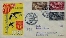 1958 IFNI , SOBRE DE PRIMER DIA CIRCULADO  , ED. 142 / 144 , AYUDA A VALENCIA - Ifni