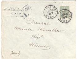 LILLE-GARE Nord Lettre Entête A DUHEM & Cie 15c Semeuse Lignée Yv 130 Ob 1905 Daguin LIL521 Type 04 - Covers & Documents