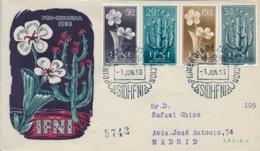 1956 IFNI , SOBRE DE PRIMER DIA CIRCULADO  , ED. 128 / 131 , PRO INFANCIA , FLORES , CACTUS - Ifni