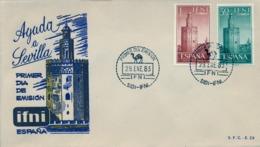 1963 IFNI , SOBRE DE PRIMER DIA  , ED. 193 / 194 , AYUDA A SEVILLA - Ifni
