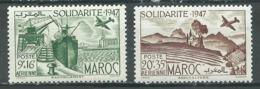 Maroc Poste Aérienne YT N°65/66 Solidarité 1947 Neuf/charnière * - Marocco (1891-1956)